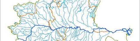 Cartina rappresentativa dell'assetto idrogeologico del Po